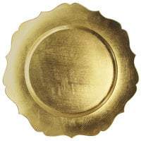 The Jay Companies 1182766 13 inch Round Gold Scalloped Edge Plastic Charger Plate