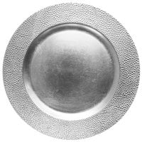 The Jay Companies 1182761 13 inch Round Silver Pebbled Plastic Charger Plate