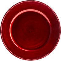 The Jay Companies 1270170 13 inch Round Red Beaded Plastic Charger Plate