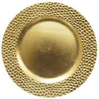 The Jay Companies 1182763 13 inch Round Gold Hammered Plastic Charger Plate
