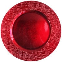 The Jay Companies 1182762 13 inch Round Red Pebbled Plastic Charger Plate