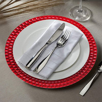 The Jay Companies 1182771 13 inch Round Red Tiled Plastic Charger Plate
