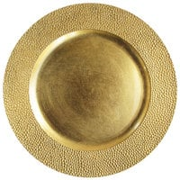 The Jay Companies 1182760 13 inch Round Gold Pebbled Plastic Charger Plate