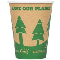 EcoChoice 12 oz. Kraft Tree Print Compostable Paper Hot Cup - 1000/Case