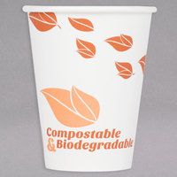 EcoChoice 12 oz. Leaf Print Compostable Paper Hot Cup - 1000/Case