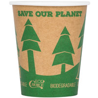 EcoChoice 8 oz. Kraft Tree Print Compostable Paper Hot Cup - 1000/Case