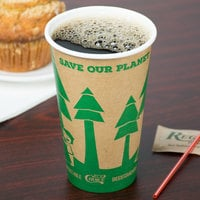 EcoChoice 16 oz. Kraft Tree Print Compostable Paper Hot Cup - 1000/Case