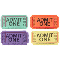 Carnival King Assorted 1-Part Admit One Tickets Set - Green, Orange, Purple, Yellow
