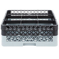 Noble Products 9-Compartment Gray Full-Size Glass Rack with 2 Black Extenders