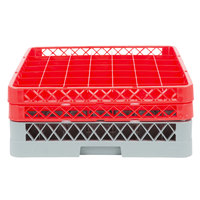 Noble Products 49-Compartment Gray Full-Size Glass Rack with 2 Red Extenders - 19 3/8 inch x 19 3/8 inch x 7 1/4 inch