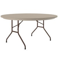 Correll Round Heavy-Duty Folding Table, 60 inch Blow-Molded Plastic, Mocha Granite - R60-24