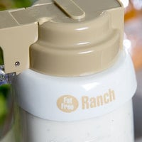 Tablecraft CB15 Imprinted White Plastic Fat Free Ranch Salad Dressing Dispenser Collar with Beige Lettering