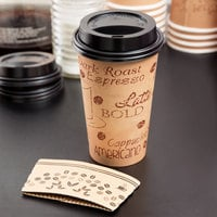 Choice 16 oz. Kraft Paper Hot Cup, Lid, and Sleeve Combo Kit - 50/Pack
