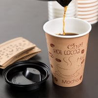 Choice 12 oz. Kraft Paper Hot Cup, Lid, and Sleeve Combo Kit - 50/Pack