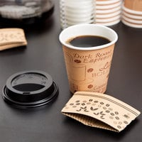 Choice 10 oz. Kraft Paper Hot Cup, Lid, and Sleeve Combo Kit - 50/Pack