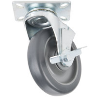 Avantco HPCASTWB 5 inch Swivel Plate Caster with Brake