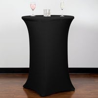 Snap Drape CN420CT3042014 Contour Cover 30 inch Round Black Bar Height 4 Feet Spandex Table Cover