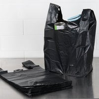 1/6 Size .87 Mil Black Unprinted Embossed Heavy-Duty Plastic T-Shirt Bag - 350/Case