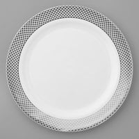 Silver Visions 10 inch White Plastic Plate with Silver Lattice Design - 12/Pack