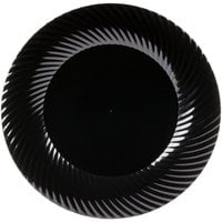 Visions Wave 9 inch Black Plastic Plate - 180/Case