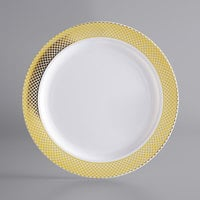 Gold Visions 6 inch White Plastic Plate with Gold Lattice Design   - 15/Pack