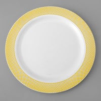 Gold Visions 10 inch White Plastic Plate with Gold Lattice Design - 120/Case