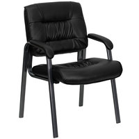 Flash Furniture BT-1404-BKGY-GG Black Leather Executive Side Chair with Titanium Frame Finish