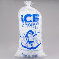 Choice 20 lb. Clear Wicketed Ice Bag with Ice Print - 500/Case