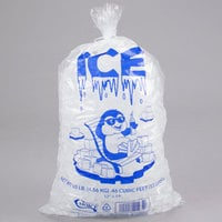 Choice 10 lb. Clear Wicketed Ice Bag with Ice Print - 1000/Case