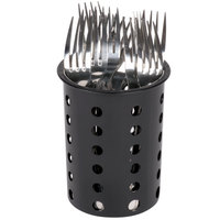 Steril-Sil RP-25-BLACK Black Perforated Plastic Flatware Cylinder
