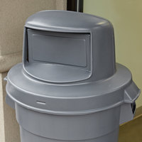 Continental 5550GY Huskee 55 Gallon Gray Round Dome Top Trash Can Lid