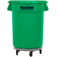 Continental 32 Gallon Green Round Trash Can, Lid, and Dolly Kit