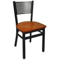 BFM Seating 2161CCHW-SB Polk Sand Black Metal Side Chair with Cherry Seat