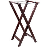 Lancaster Table & Seating 18 1/2 inch x 16 1/4 inch x 32 inch Folding Wood Tray Stand Mahogany