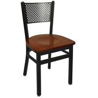 BFM Seating 2161CMHW-SB Polk Sand Black Metal Side Chair with Mahogany Seat