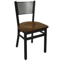 BFM Seating 2161CWAW-SB Polk Sand Black Metal Side Chair with Walnut Seat