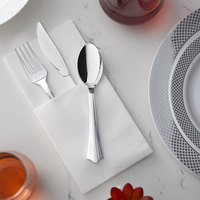Silver Visions Silver Heavy Weight Plastic Cutlery Set with White Linen-Feel Napkin - 50/Case