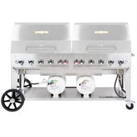 Crown Verity CCB-72RDP 72 inch Outdoor Club Grill with 2 Horizontal Propane Tanks and Roll Dome Package