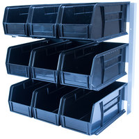 Carlisle 381109LG 18 inch x 12 inch x 19 inch Aluminum 3-Tier Packet Rack with 3.5 Qt. Black Compartment Bins