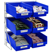 Carlisle 381206LG 14 inch x 12 inch x 18 inch Wire 3-Tier Packet Rack with 4 Qt. Blue Compartment Bins