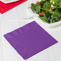 Creative Converting 318929 Amethyst Purple 2-Ply 1/4 Fold Luncheon Napkin   - 600/Case