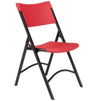 National Public Seating 640 Black Metal Folding Chair with Red Blow Molded Plastic Back and Seat