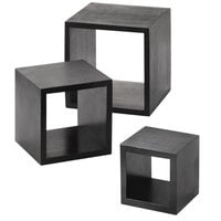 American Metalcraft RSB1 Black 3 Piece Square Wood Riser