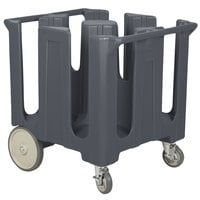 Cambro DC1225191 Poker Chip Granite Gray Dish Dolly / Caddy with Vinyl Cover - 4 Column