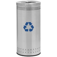 Commercial Zone 78182999 Precision 25 Gallon Imprinted Stainless Steel Trash Receptacle with Recycler Lid and Decals