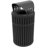 Commercial Zone 72830199 ArchTec Parkview 45 Gallon Round Black Steel Outdoor Trash Receptacle with Canopy