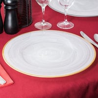 The Jay Companies 1470353 13 inch Round White Alabaster Glass Charger Plate with Gold Rim