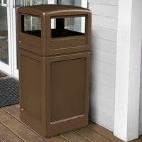 Commercial Zone 73293799 PolyTec 42 Gallon Square Brown Waste Container and Dome Lid Set