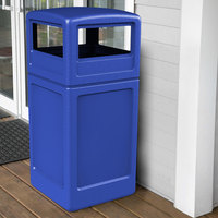 Commercial Zone 73290499 PolyTec 42 Gallon Square Blue Waste Container and Dome Lid Set