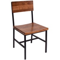 BFM Seating JS33CASH-SB Memphis Sand Black Steel Side Chair with Autumn Ash Wooden Back and Seat